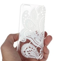 ABC? 2015, White Transparent Carved Pattern Vintage Hard Case Cover For iPhone 5C