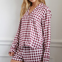 Gingham Plaid PJ Set