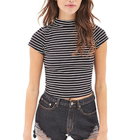 FOREVER 21 Striped High-Neck Top