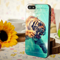 Tiger in water triangle design for iPhone 4/4s, Iphone 5, Samsung Galaxy S3, Samsung S4, Blackberry Z10, Ipod 4 & Ipod 5 from stevaz store