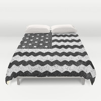 Black Zig Zag Flag Duvet Cover by Nick Nelson | Society6