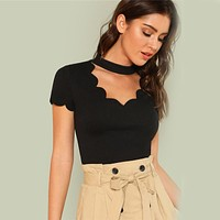 Elegant Mock Neck Scallop Trim Cut Out V Collar Short Sleeve Solid Tee Women Casual T-shirt Top