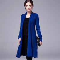 Open Front Knit Pleated Cardigan