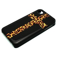 BLACK Snap On Case iPhone 4 4S Plastic - Cross with Leopard Print Black Cheetah