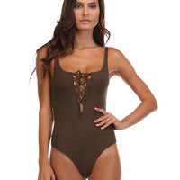 History of Time Lace Up Bodysuit - Olive