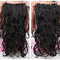 """OneDor® 20"""" Curly 3/4 Full Head Synthetic Hair Extensions Clip On/in Hairpieces 140g 5 Clips (1b- Off Black)"""