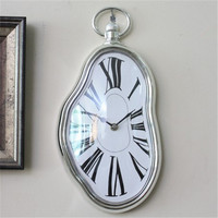 Home Decoration Antique Design Melting Clock Distorted Movement Battery Power Electronic Wall Clock Vintage Gift