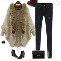 2014the autumn and winter Europe and American style new fashion one size women's knitting sweater cardigan cloak shawl batwing coat loose dress with thick coat (Color Beige)