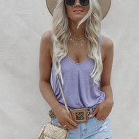 Angel Lavender Ribbed Knit Tank Top