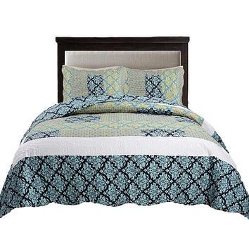 Tache Damask Paisley Teal Turquoise Scalloped Bedspread Set (SD-3300)