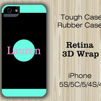 Simple Black Teal Colour Monogram iPhone 6/5S/5C/5/4S/4 Case