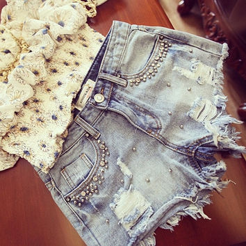 2015 New Hot Sell High Quality Women Beaded Denim jeans Shorts = 1947011332