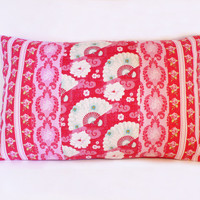 Red and pink cushion cover with roses cherryblossoms stripes and fans