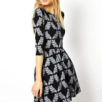 Black Owl Pattern Sleeve Skater Dress