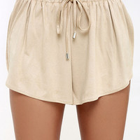 Nightwalker Sporty Spice Beige Suede Shorts