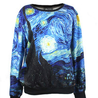 Van Gogh Starry Night Print Jumper Sweatshirt - PrettyGuide