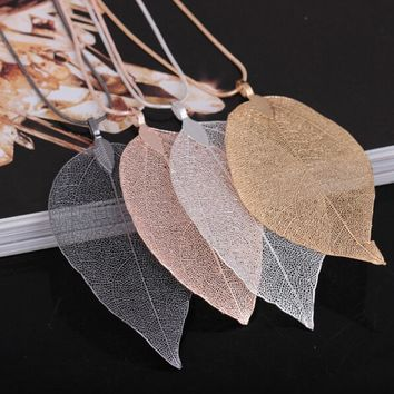 Natural Hand Made Real Gilded Leaf Pendant Necklace