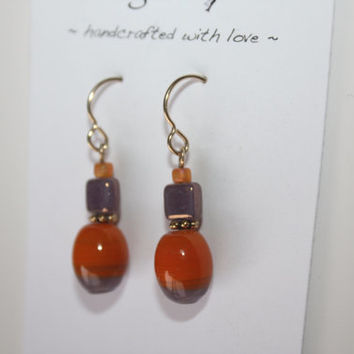 Orange and Purple Upcycled and Fair Trade 14kt Gold Earrings