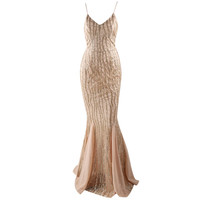 Sexy Low Cut Sequined Trumpet Party Dress V Neck Backless Sleeveless Patchwork Maxi Floor Length Dress
