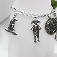 Harry Jewellery Silver Plated Charm Bead Bracelet with 4x Potter  Charms Available in 4 Sizes