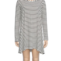 Full Tilt Stripe Knit Girls Dress Cream/Black  In Sizes