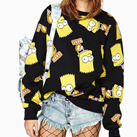 Black Simpsons Print Sweatshirt