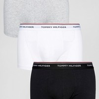 Tommy Hilfiger Stretch Low Rise 3 Pack Trunks in Black/White/Gray Marl at asos.com