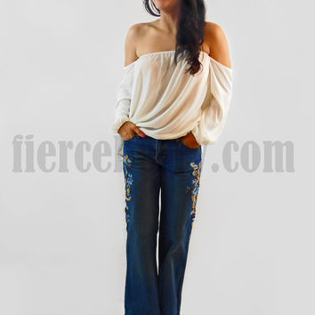 Denim Boot Cut Embroidered Jeans