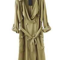 Olive Green Long Trench Cotton Cardigan