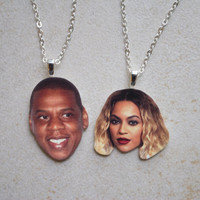 Jay Z and Beyonce Friendship Necklace Set