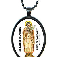 St Kateri Patron of Environment & Ecology Huge 30x40mm Black Pendant with Chain Necklace