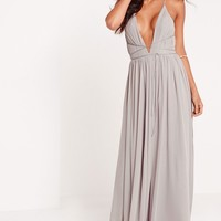 Missguided - Strappy Pleated Plunge Maxi Dress Grey