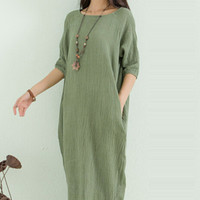 Green Half Sleeve A-Line Midi Dress