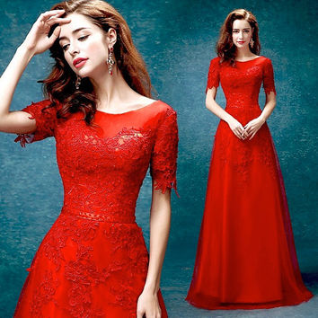 Long red lace wedding dresses/ Red wedding Dress/Red Prom dress/Bridal Wedding Party Dress,Bridal Prom/ Bridesmaid Dress