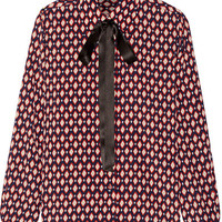 Marc Jacobs - Pussy-bow printed silk crepe de chine shirt