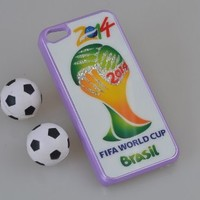 MagicPieces Plastic Snap on Case with Shaking Rhinestones FIFA World Cup 2014 Brasil for iPhone Purple iPhone 4/4S