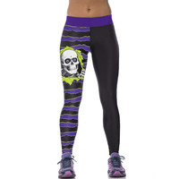 Peeping Skeleton Striped Womens Printed Leggings