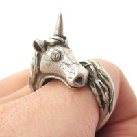 Large Detailed Unicorn Shaped Animal Wrap Around Ring in Silver | US Size 5 to 8