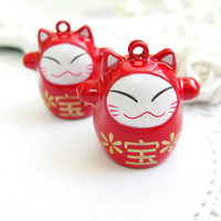 2PCS Large metal japanese fortune cat bell charms pendants Red (2-7-69)