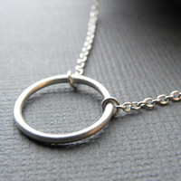 Minimalist Small Circle Karma Necklace | Open Circle Infinity Necklace | Silver Ring Necklace