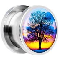 Body Candy Stainless Steel Sunset Tree Screw Fit Plug 0 Gauge