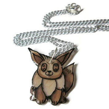 Eevee Pokemon Necklace, Shrink Plastic, Custom Chain Length, Glitter Coating Option, Hand Drawn and Colored