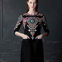 Runway Luxury Royal Women Dress Print Lace Black Plus Size 3/4 Sleeves S-XXL