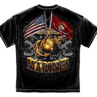 New MARINES DOUBLE FLAG T SHIRT AMERICAN AND USMC GOLD FOIL