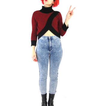 90s Turtleneck Crop Top Chevron Striped Red Black Sweater Long Sleeve Club Kid Abstract Print Winter Knit Jumper Petite Op Art Graphic (S/M)