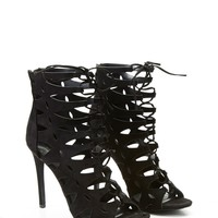 Caged Faux Suede Heels