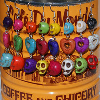 Colorful Heart and Skull Earrings Valentine's Day Gift Idea Multicolor Dangle Earwires