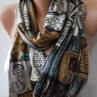 Post Cards Scarf  Tube Scarf, Infinity Scarf Loop Scarf Circle Scarf -  It made with good quality Cotton Jersey  fabric