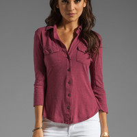 James Perse Contrast Panel Shirt in Berry from REVOLVEclothing.com