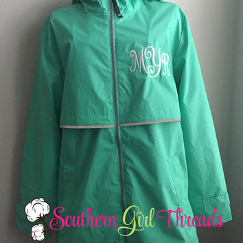 Charles River Rain Jackets, Monogram Rain Jacket, Rain Jacket, Women's Monogrammed Jacket, Women's Rain Coat, Full Zip Up Rain Jacket